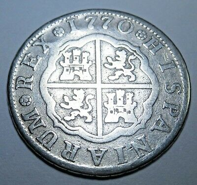 1770 Spanish Silver 2 Reales Piece of 8 Real 18th Century Two Bit Treasure Coin