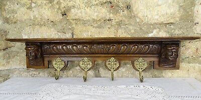 French Antique Carved Oak Wall Shelf Coat Hat Kitchen Rack Men Faces 1900