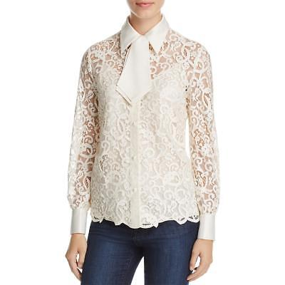 32df5fdd381 Tory Burch Womens Rosie Ivory Lace Silk Going Out Button-Down Top 6 BHFO  1448