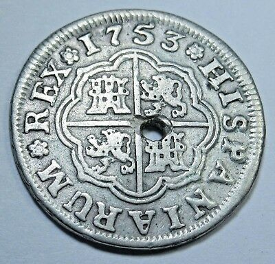 1753 Spanish Silver 1 Real Piece of 8 Reales Colonial Pirate Treasure Coin