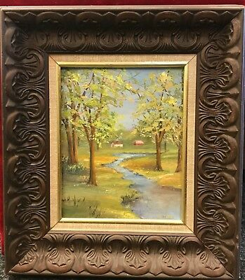 Vintage Oil Painting. Cabin in the Woods. J. Toth. Framed.