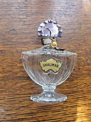 "Vintage GUERLAIN Paris SHALIMAR Perfume Bottle 4"" Tall"