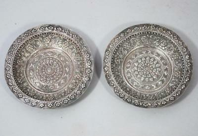 BEAUTIFUL PAIR ANTIQUE INDIAN SILVER REPOUSSE DISHES trays