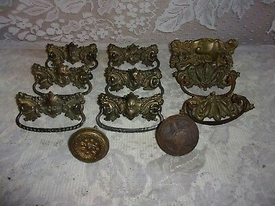 9 Antique Victorian  Ornate Brass Dresser Drawer Pull Handles & 2 Door Knobs