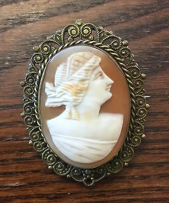 Vintage Estate Brass Victorian Ornate Set Genuine Carved Shell Cameo Pin