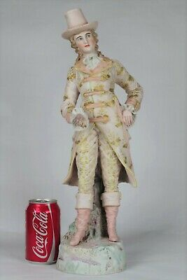 Fine Large (47cm) Antique French Bisque Handpainted Figurine of a Gentleman