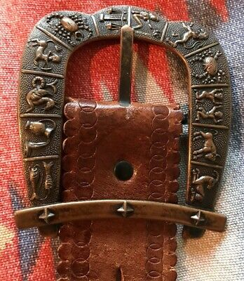 Vtg 1960's Horoscope Astrological Sign Belt Buckle & Leather Tooled Belt (L)