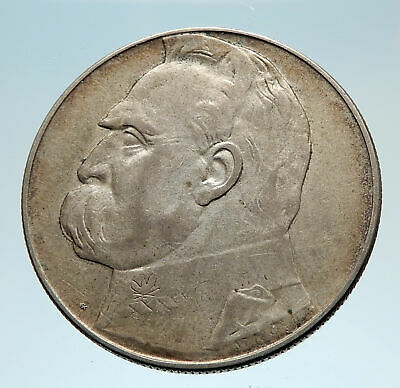 1936 POLAND Silver with Jozef Pilsudski Antique Silver 10 Zlotych Coin i75211