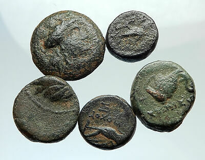 AUTHENTIC Ancient 400BC-250AD GREEK - 5 COINS Group Lot KIT Collection i75586