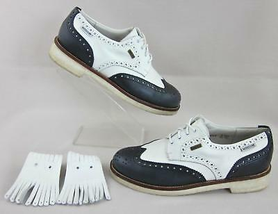Mephisto Wingtip Golf Shoes GORE-TEX White   Navy Wmns US 8.5 Mens US 6.5 44bb66d62f1