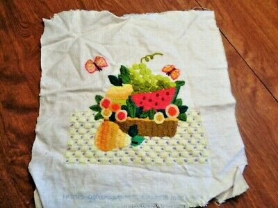 "Paragon  Finished Crewel ""fruit Basket"" #0315     Ready To Frame   (63)"
