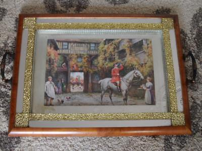 Antique Vintage Art Deco English Country Hunt Horse Scene Mirror Drinks Tray
