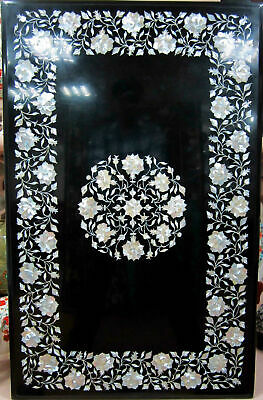 4'x3' Black Marble Top Dining Table Mother Of Pearl Marquetry Inlay Decors E543A