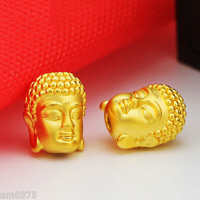 NEW Pure 24K Yellow Gold Pendant Man&Woman Perfect Lucky Buddha Head12*15mm-1pcs
