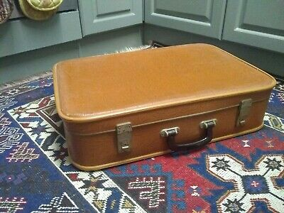 Vintage Kazeto Brown pattern Suitcase 1960's ! 60 x 42 x 15cm