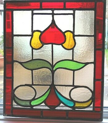 Ref SG344 - A LOVELY ORIGINAL FULLY RESTORED STAINED GLASS PANEL