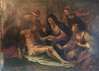 18th CENTURY HUGE ITALIAN OLD MASTER OIL ON CANVAS - THE DEPOSITION OF CHRIST