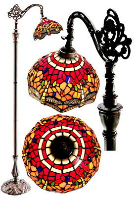 New arrival@Red Dragonfly Stained glass Tiffany Bedside Bridge Arm Floor Lamp