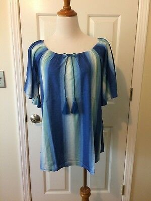 b6c76778a0954 NEW CHICO S WATERFALL Stripe off the Shoulder Top Blouse Blue 1