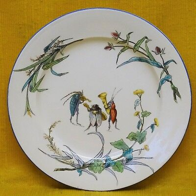 Unusual Antique 19thC French Comic Novelty PLATE - INSECT MUSICIAN BAND c1890