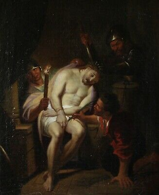 18th CENTURY FLEMISH LARGE OLD MASTER OIL ON CANVAS - THE MOCKING OF CHRIST