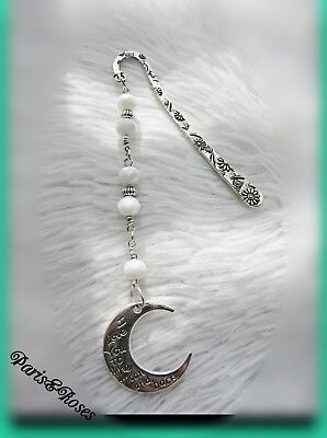 BOOKMARK Handcrafted Marker CRESCENT MOON Antique silver white crystals flowers