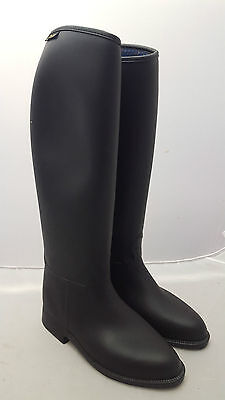 2fa5dfa3cc LADIES MUSTANG BRONZE Long Black Rubber Riding boots Size 8 Wide ...