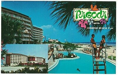 Pagoda motel, Ormond Beach Florida,  swimsuit couple vintage postcard