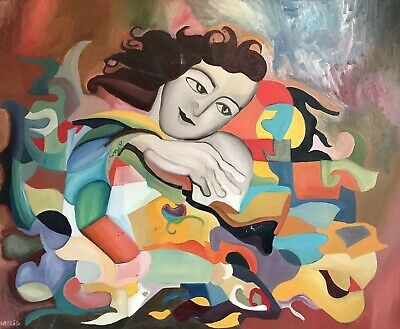 Beatrice Werlie (1974) Large French Abstract Signed Oil - Colourful Figurative