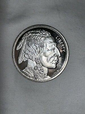 One Troy Ounce 999 Fine Silver Buffalo Indian Head Coin