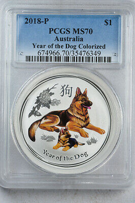 2018-P Australia Year of the Dog 1oz silver lunar colorized PCGS MS70