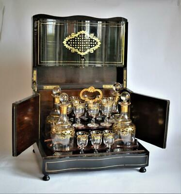 ANTIQUE FRENCH NAPOLEON III Ebony Inlaid Brass CAVE A LIQUEUR DECANTER BOX