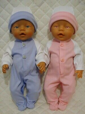 DOLLS CLOTHES to fit 43cm BABY BORN BOY or GIRL -BABYGRO & HAT SET Choice colour