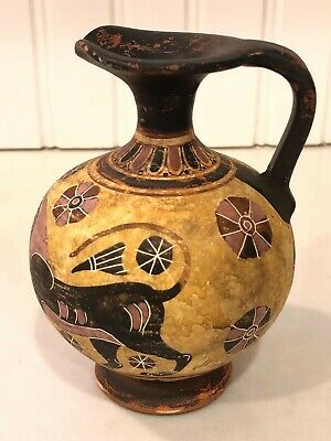 Vintage Greek Ceramic Pottery Pitcher ANTIKA DELPDI Greece