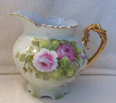 Lefton Heritage Green, Pink Roses, Gold Trim, large pitcher #796 Perfect