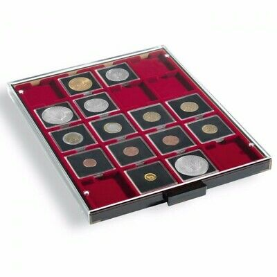 Lighthouse Coin Box - Square Compartment Red Insert : 20 spaces up to 50 mm - 31