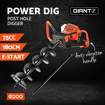 Giantz 75CC Petrol Post Hole Digger Drill Borer Fence Extension Auger Bits