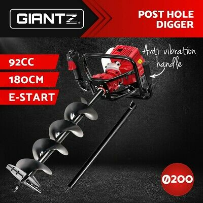 Giantz 88CC Petrol Post Hole Digger Drill Borer Fence Extension Auger Bits
