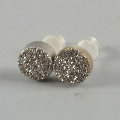 7mm Round Natural Agate Titanium Druzy Stud Earrings Silver Plated T075142