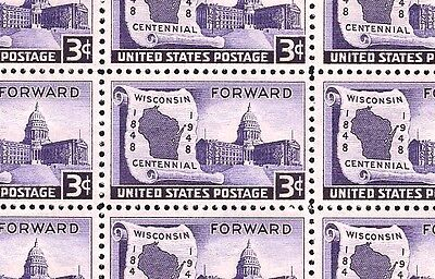 1948 - WISCONSIN - #957 Full Mint -MNH- Sheet of 50 Postage Stamps