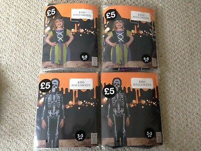 Fancy Dress Outfit Bundle Job Lot Witch And Skeleton Costumes 3-5 Yrs & 6-8 Yrs