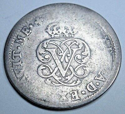 1707-1708 Spanish Silver 2 Reales Piece of 8 Real Colonial Two Bits Pirate Coin