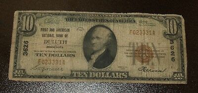 Nice $10 First and American National Bank of Deluth MN - Type1  - Charter #3626