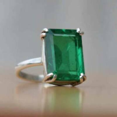 925 Sterling Silver Natural Colombian Emerald Octagon Shape Ring X-mas Day Sale