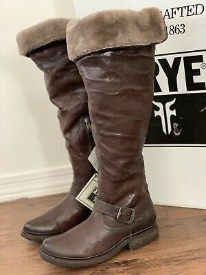 0f9ef6bee73 FRYE Valerie Shearling Lined Over The Knee OTK Riding Boots Sz 8.5 Fur Lined