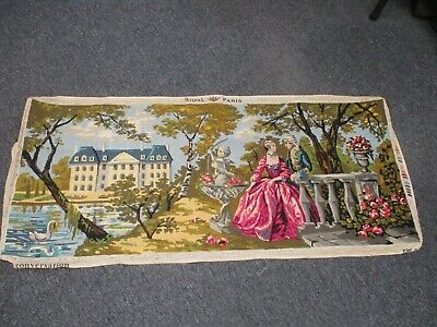 Vintage Completed Hand Stitched Needlepoint Royal Paris Lovers In Garden 45""