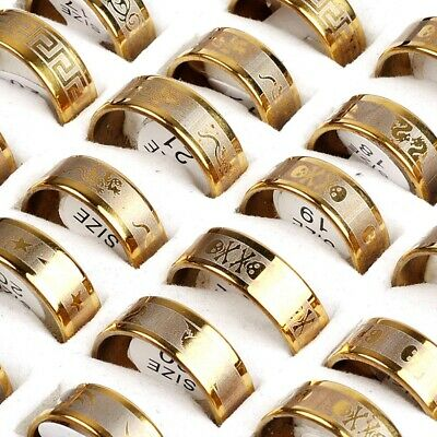 12pcs Gold Mixed Men's Fashion Stainless Steel Rings Wholesale Jewlery Job lot