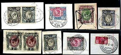 South Africa Early Kgvi Qeii & Arms Revenues To £5 Used On Piece.  A442