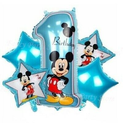 Mickey Minnie Mouse Disney 1st Birthday Foil Balloons Decorations Party 5 pcs