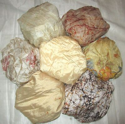 UK LOT PURE SILK Vintage Sari REMNANT Fabric 7 Pcs 1 foot ech Cream #ABM3V